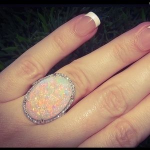 Sterling Silver Fire Opal Oval Ring